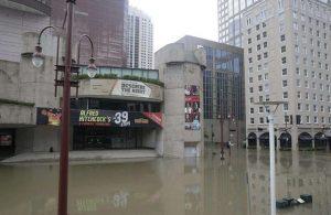Hurricane Harvey damaged the Neuhaus Theatre in Houston.