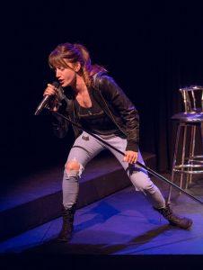 Meghan Gardiner's character Evelyn sings karaoke in I Lose My Husband