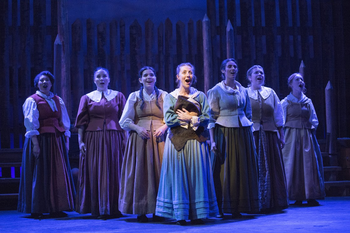 Julie McIsaac and the chorus in Les Filles du Roi (Photo by David Cooper)