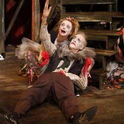 Pippa Mackie and Peter Anderson perform a death scene in Titus Bouffonius.