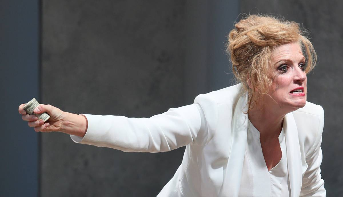 Playing Timon of Athens, Colleen Wheeler rages against duplicity.